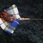 Feather and tartan brooch/hat pin in the MacKessog wedding tartan